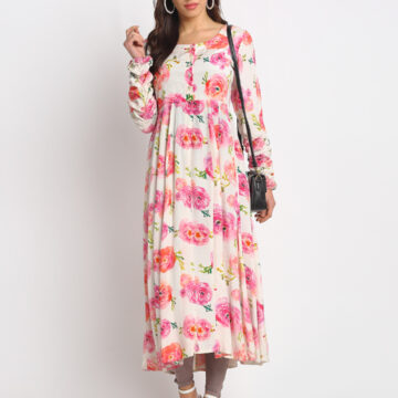 Pink and White  Printed Anarkali Style Kurta (Rosy)