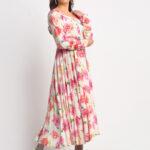 Pink and White  Printed Anarkali Style Kurta (Rosy)