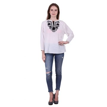 White Color Cotton Fabric Embroidered Top