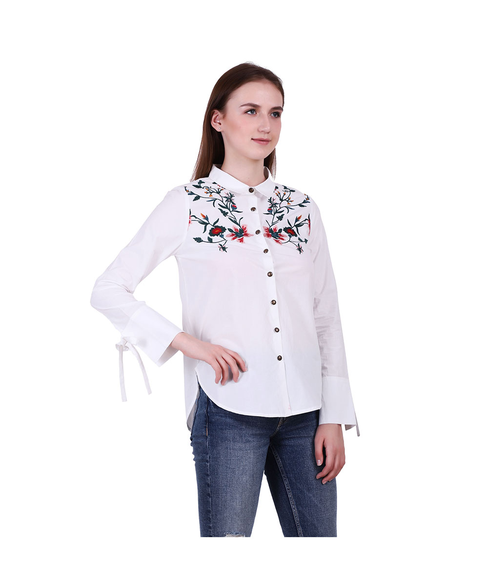 White Cotton Embroidered Shirt for Women