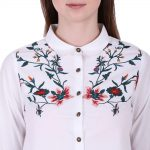 White Color Cotton Fabric Embroidered Shirt for Women(Anya)