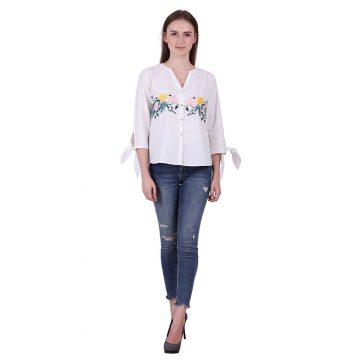 White Color Cotton Fabric Embroidered Top (Naira)