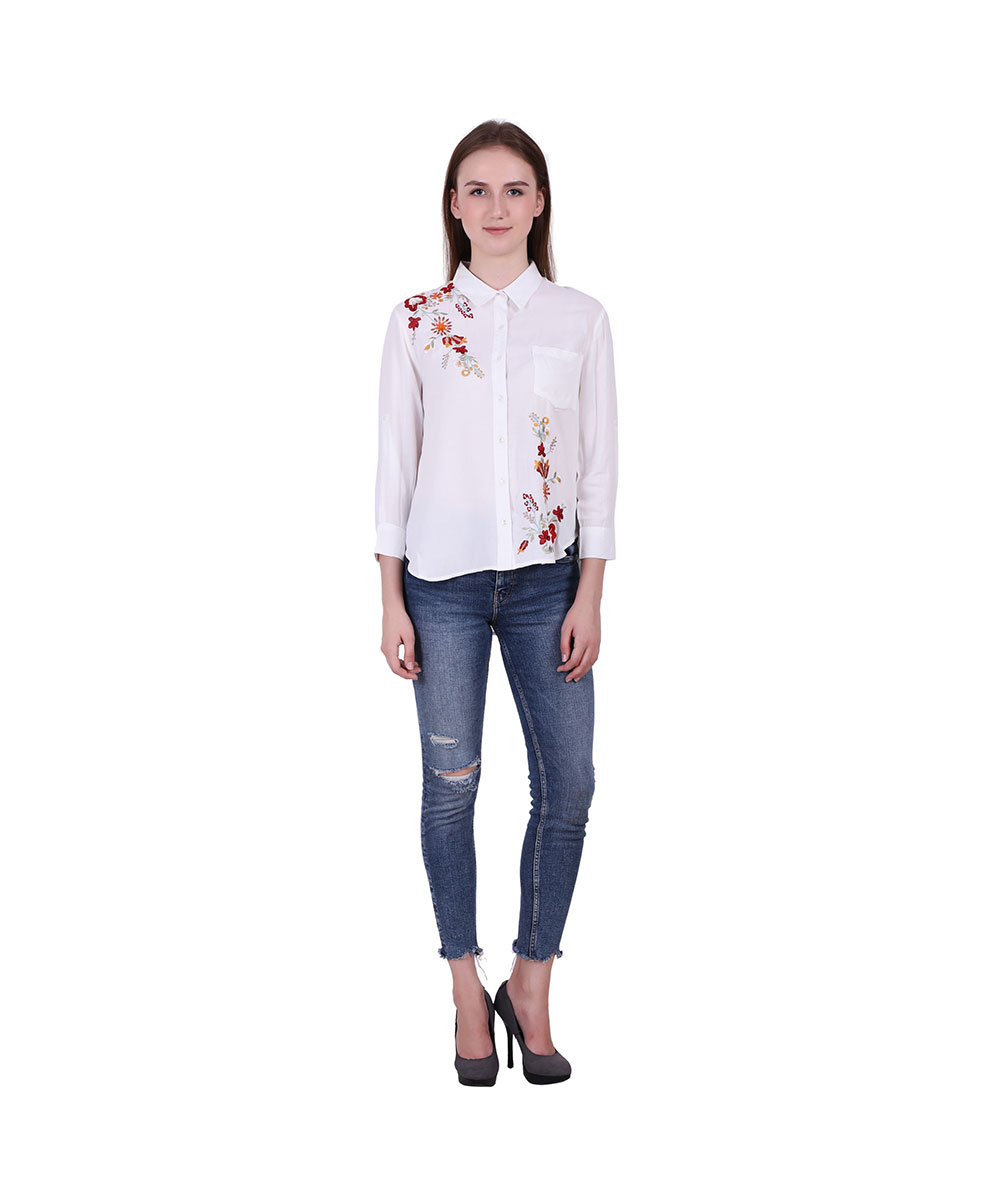 White Color Rayon Fabric Embroidered Shirt