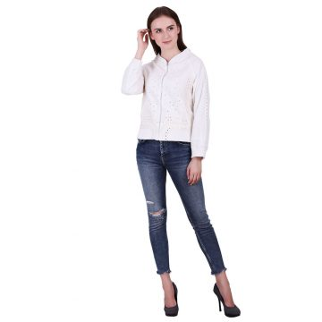 Off White Color Cotton Fabric Embroidered Jacket
