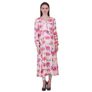Pink and White Moss Fabric Printed Anarkali Style Kurta (Rosy)