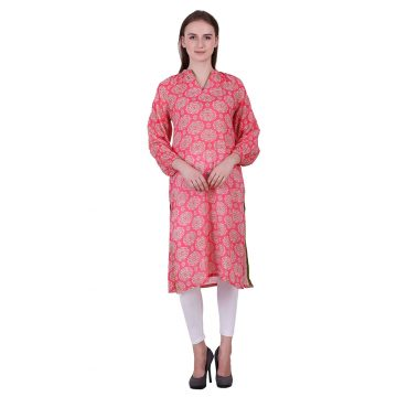 Pink Cotton Linen Fabric Printed Kurta (Gulab)