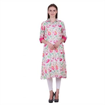 Multi Color Viscose Moss Fabric Printed Kurta (Vedika)