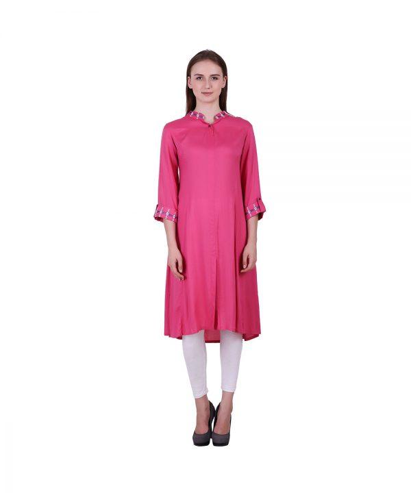 Pink Rayon Fabric Kurti