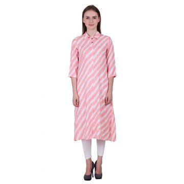 White and Light Pink Cotton Flex Fabric Printed Kurta (PREET)