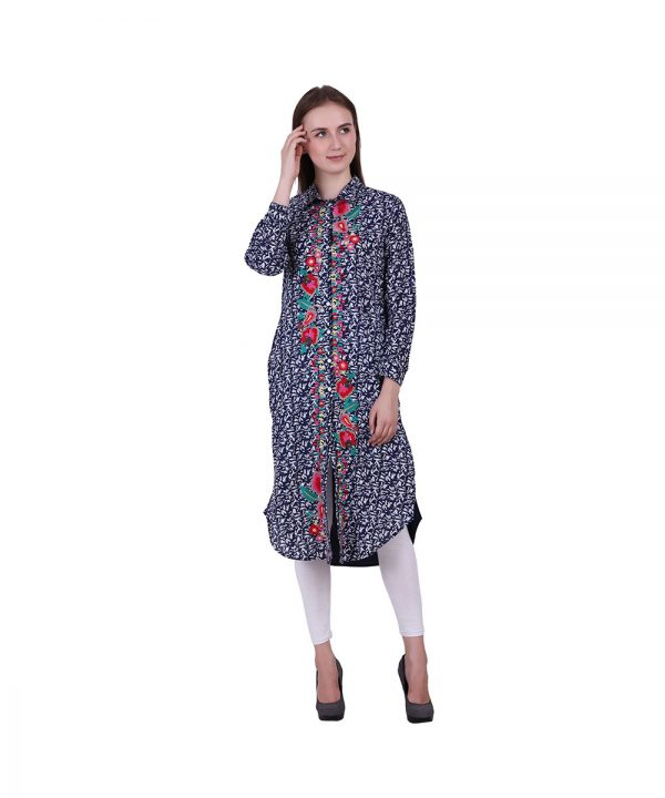 Navy Blue Cambric Fabric Kurta Printed With Embroidery (Prisha)