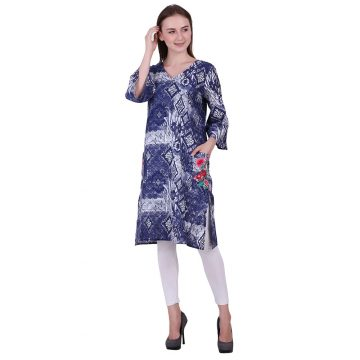 Blue and White Cotton Fabric Kurti