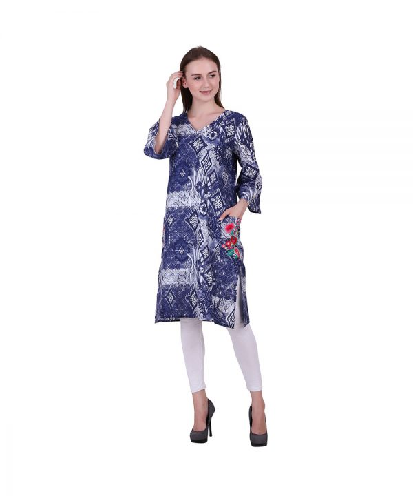Blue and White Cotton Fabric Kurti Printed With Embroidery (PIHU)