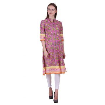 Multi Color Cotton Fabric Printed Kurta (RAGI)