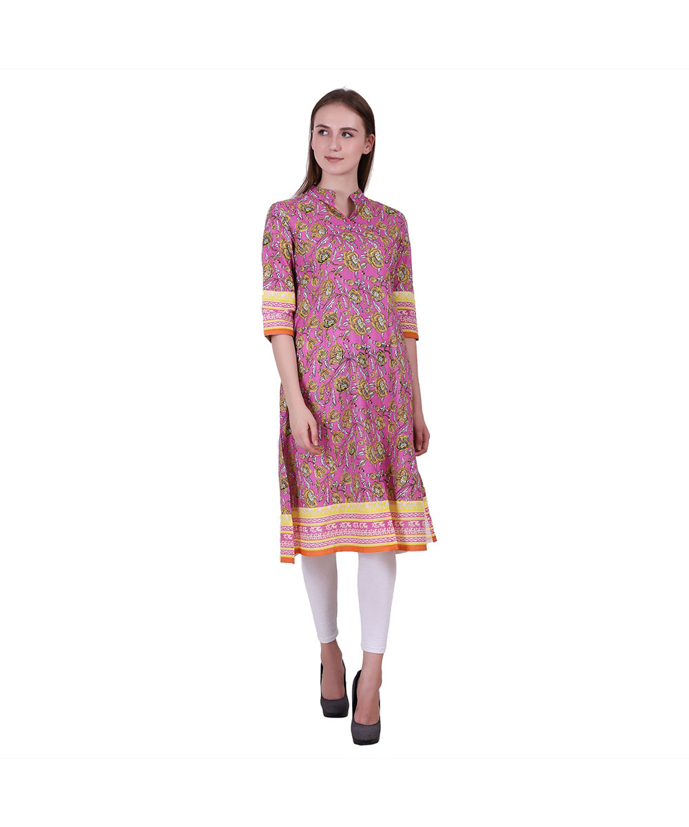 Multi Color Cotton Fabric Printed Kurta