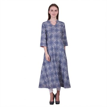Blue and White Color Cotton Fabric Printed Kurta