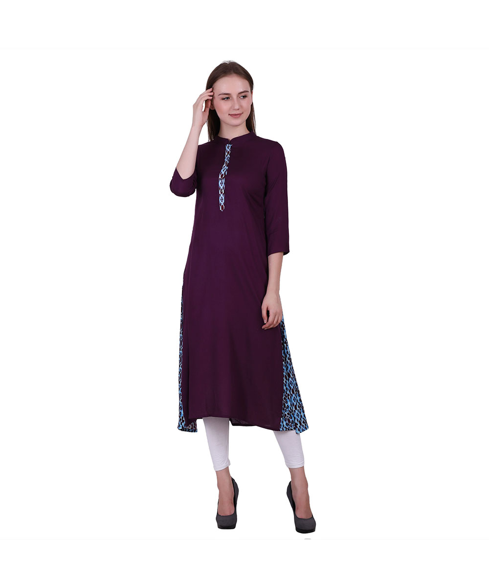 Wine Color Rayon Fabric Printed Kurti