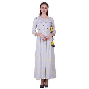 Multi Color Rayon Fabric Printed Kurta with Mirror Work  (Mehar)