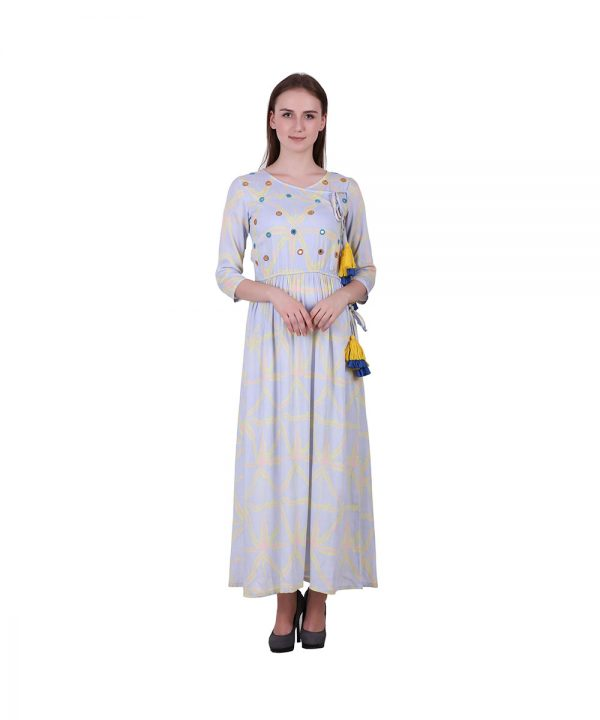 Multi Color Rayon Fabric Printed Kurta with Mirror Work