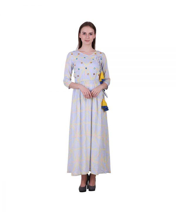 Multi Color Rayon Fabric Printed Kurta with Mirror Work  (Mehar)