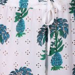 White and Green Printed Cotton Schifly Shirt