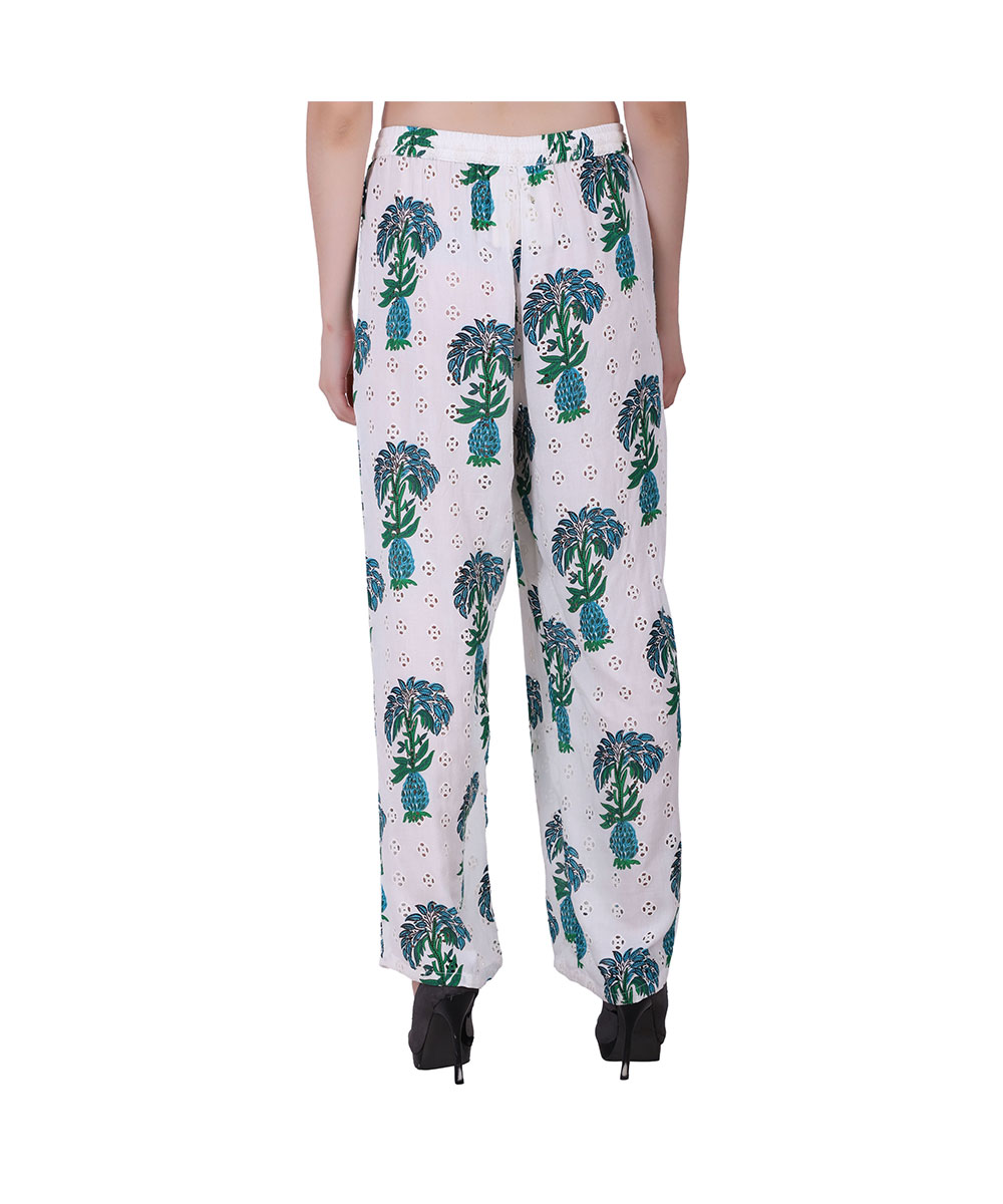 White and Green Cotton Palazzo Pants (Garden)