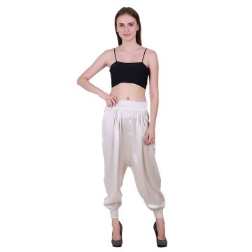 White Poly Satin Fabric Herm Style Pants (Alpha)