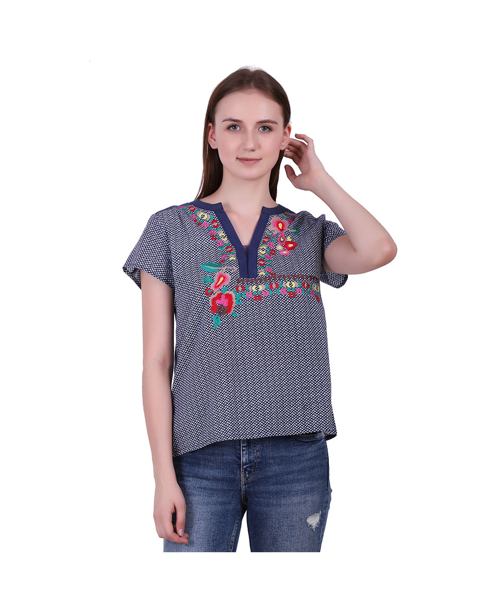 Blue Cambric Fabric Top Printed with Embroidery