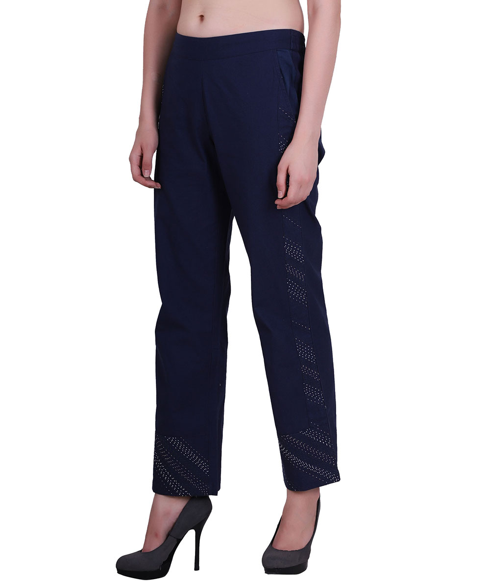 Blue color embroidery cotton pants2
