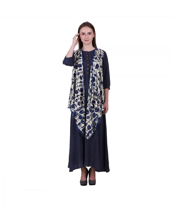 Blue Solid Casual A-line Cotton Kurti with Printed Shrug For Women