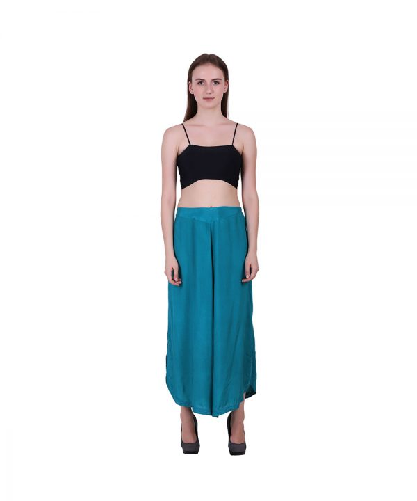 Rayon Sky Blue Flared Bottom Palazzo Pants For Women