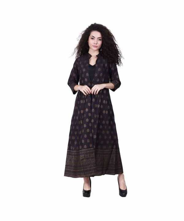 Black color gold printed kurta