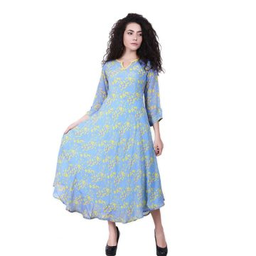 Blue Color Japanese Floral Print kurta