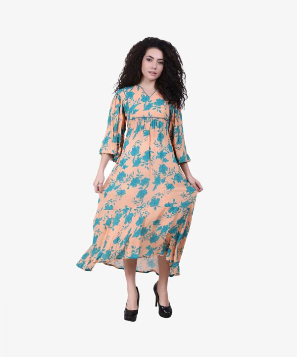 Peach & Green Rayon Printed Asymmetric Kurta