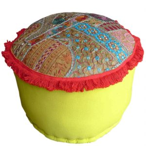Multicolor Gujrati Embroidery Design Pouffe