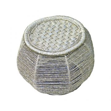 Handmade Knitted Golden Hexagonal Stool