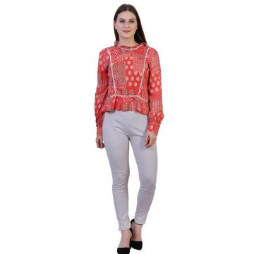 Red Full Sleeve Rayon Block Print Top