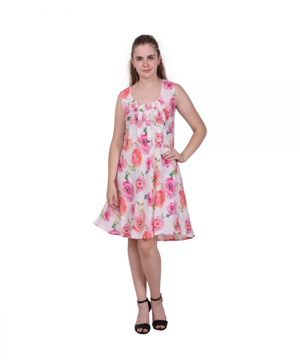 Pink Floral Printed Rayon Sleeveless Dress