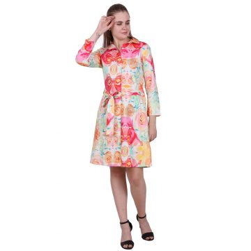 Beautiful Digital Floral Printed Embroidered Short Dress