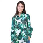 Green Digital Leaf Print Cotton Lycra Shirt