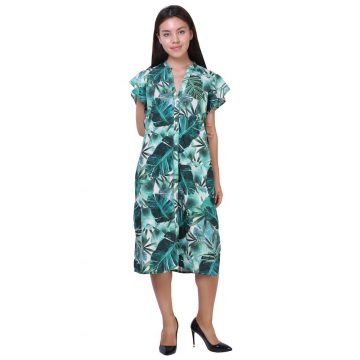 Green Digital Print Rayon Tari Work Dress