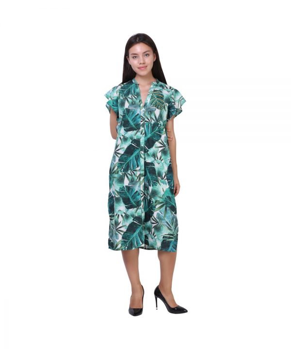 Green Digital Print Rayon Tari Work Dress