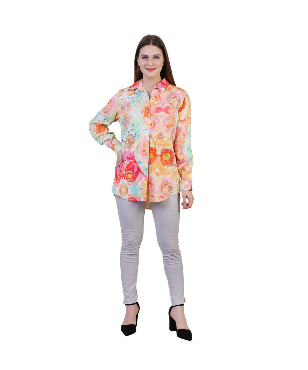 Multi Color PoplLycra Cotton Floral Printed Shirt