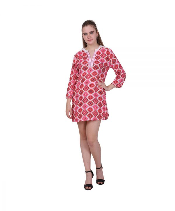 Pink Geometric Pattern Straight Cotton Kurti
