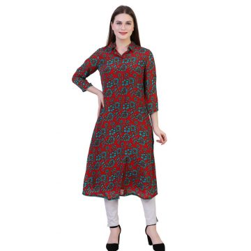 Multicolor Crepe Fabric Floral Printed Straight Kurta