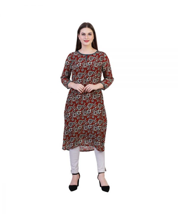 Brown Crepe Fabric Block Print Straight Kurta