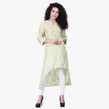 mint green color kurta