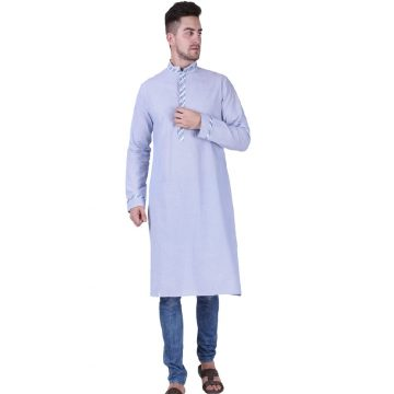 Blue Color Full Sleeve Striped Long Mens Kurta (Nakul)