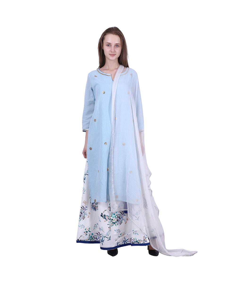 Blue Kurti Skirt Dupatta Set