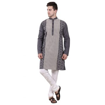 Grey Cotton Kurta for men