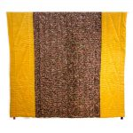 Yellow & Brown Machine Embroidered Jaipuri Velvet Quilt
